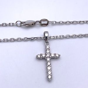 Jewelry - 14kt White Gold Natural Diamond Cross Necklace 16""